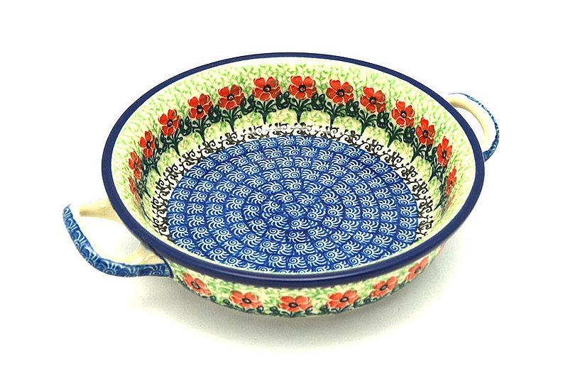 Ceramika Artystyczna Polish Pottery Baker - Round with Handles - Small - Maraschino C40-1916a (Ceramika Artystyczna)