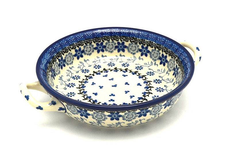 Polish Pottery Baker - Round with Handles - Small - Silver Lace