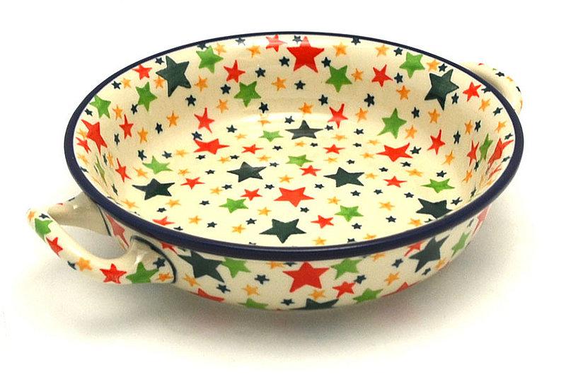 Ceramika Artystyczna Polish Pottery Baker - Round with Handles - Small - Star Studded C40-2258a (Ceramika Artystyczna)