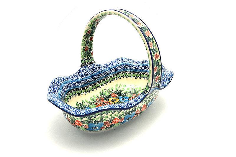 Ceramika Artystyczna Polish Pottery Basket - Large Oval - Unikat Signature - U3347 876-U3347 (Ceramika Artystyczna)