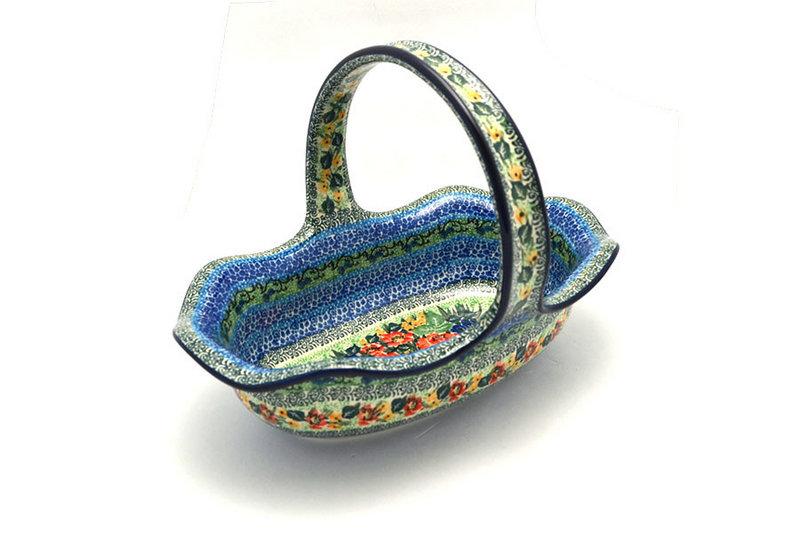 Ceramika Artystyczna Polish Pottery Basket - Large Oval - Unikat Signature - U4400 876-U4400 (Ceramika Artystyczna)