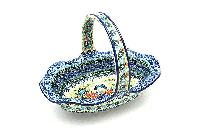 Ceramika Artystyczna Polish Pottery Basket - Large Oval - Unikat Signature - U4553 876-U4553 (Ceramika Artystyczna)