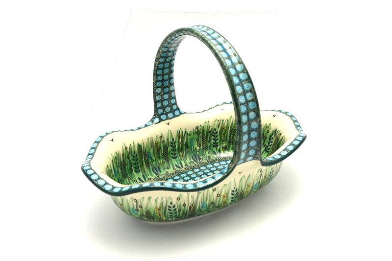 Ceramika Artystyczna Polish Pottery Basket - Large Oval - Unikat Signature - U803 876-U0803 (Ceramika Artystyczna)
