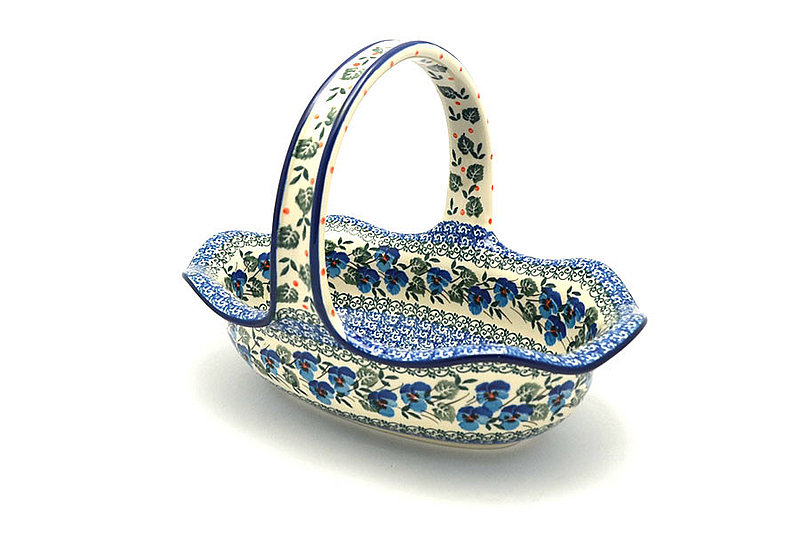 Polish Pottery Basket - Large Oval - Winter Viola