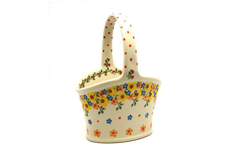 Ceramika Artystyczna Polish Pottery Basket - Small Hand - Buttercup A30-2225a (Ceramika Artystyczna)