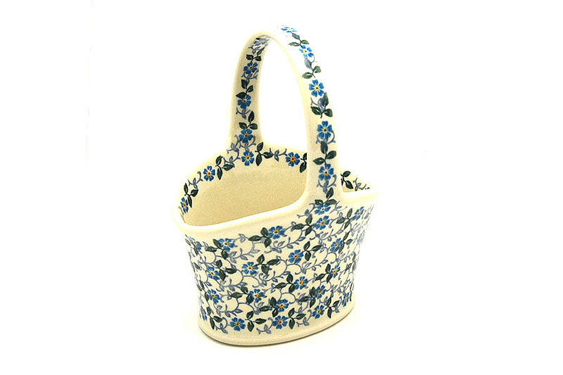 Ceramika Artystyczna Polish Pottery Basket - Small Hand - Forget-Me-Knot A30-2089a (Ceramika Artystyczna)