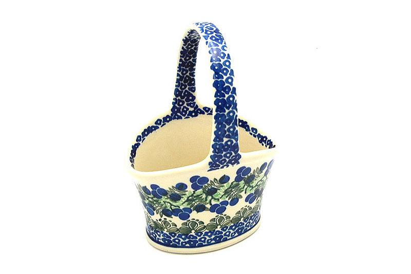 Ceramika Artystyczna Polish Pottery Basket - Small Hand - Huckleberry A30-1413a (Ceramika Artystyczna)
