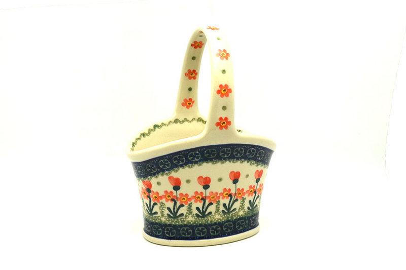 Ceramika Artystyczna Polish Pottery Basket - Small Hand - Peach Spring Daisy A30-560a (Ceramika Artystyczna)