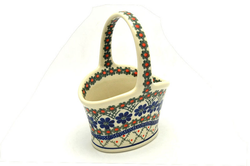 Ceramika Artystyczna Polish Pottery Basket - Small Hand - Primrose A30-854a (Ceramika Artystyczna)