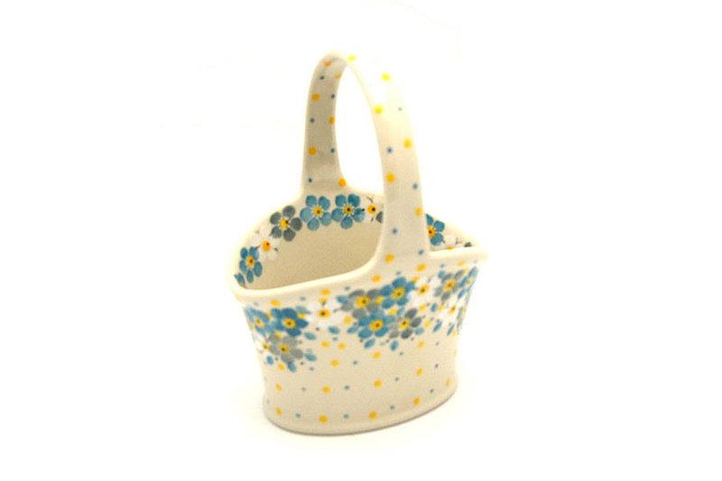 Ceramika Artystyczna Polish Pottery Basket - Small Hand - Shady Blossom A30-2382a (Ceramika Artystyczna)