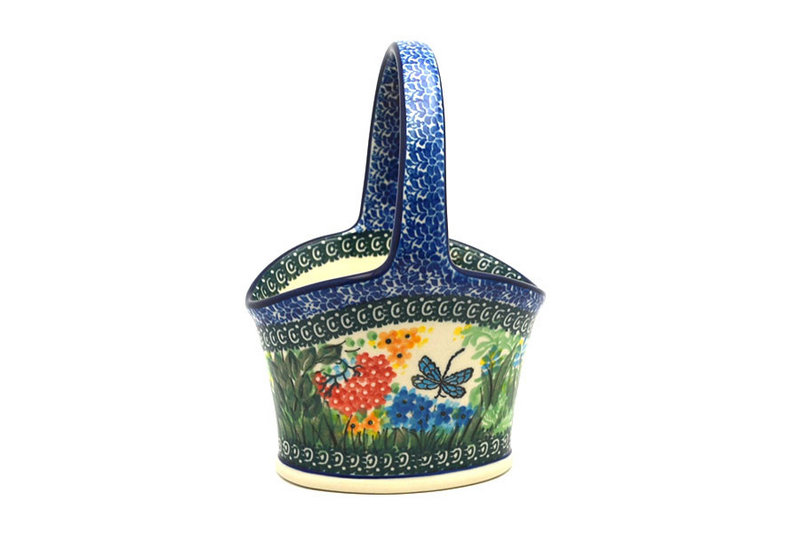 Ceramika Artystyczna Polish Pottery Basket - Small Hand - Unikat Signature - U4612 A30-U4612 (Ceramika Artystyczna)