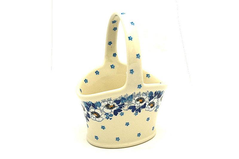 Ceramika Artystyczna Polish Pottery Basket - Small Hand - White Poppy A30-2222a (Ceramika Artystyczna)
