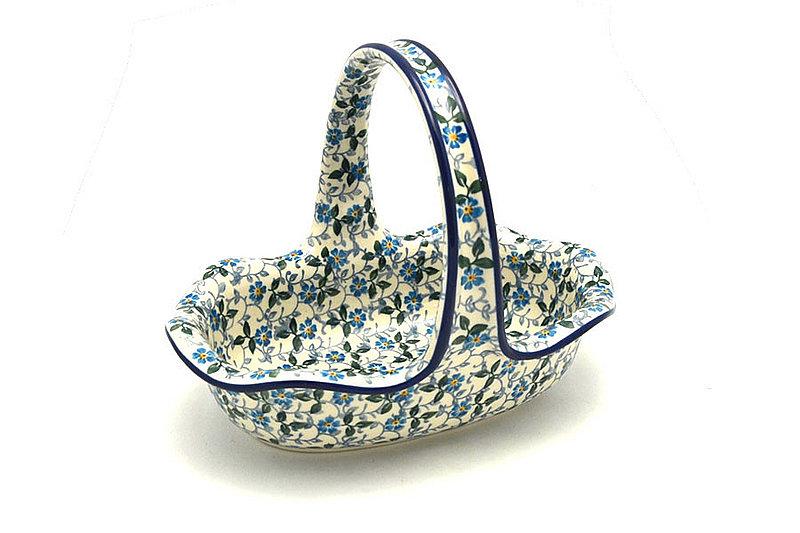 Ceramika Artystyczna Polish Pottery Basket -Small Oval - Forget-Me-Knot A21-2089a (Ceramika Artystyczna)