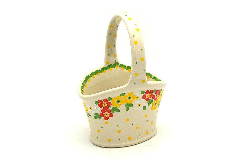 Polish Pottery Basket - Small - Spring Blossom
