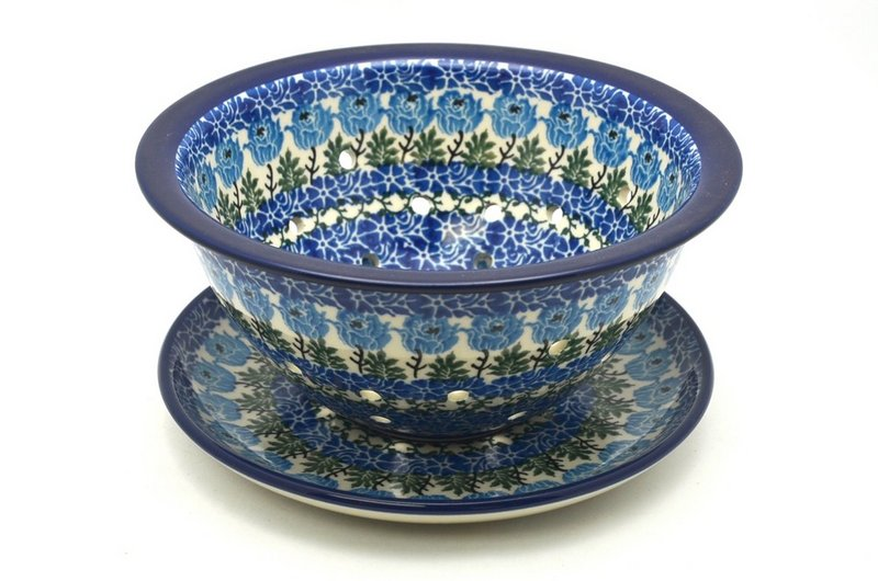 Ceramika Artystyczna Polish Pottery Berry Bowl with Saucer - Antique Rose 470-1390a (Ceramika Artystyczna)