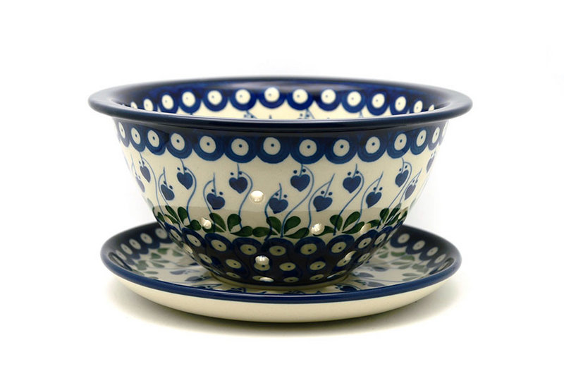Ceramika Artystyczna Polish Pottery Berry Bowl with Saucer - Bleeding Heart 470-377o (Ceramika Artystyczna)