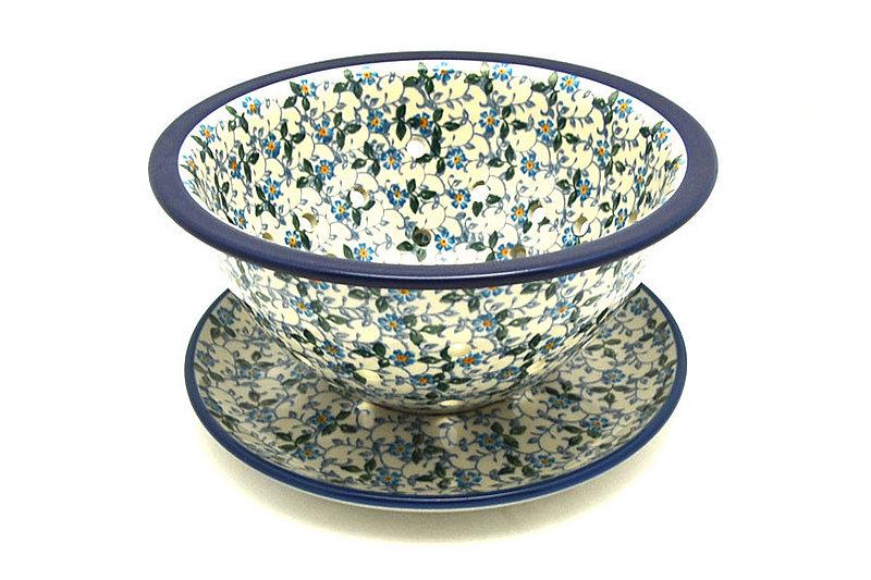 Ceramika Artystyczna Polish Pottery Berry Bowl with Saucer - Forget-Me-Knot 470-2089a (Ceramika Artystyczna)
