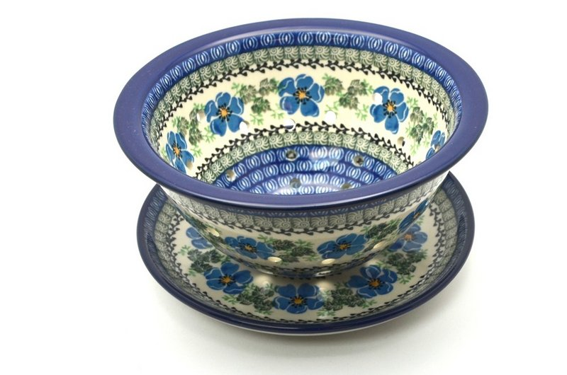 Polish Pottery Berry Bowl with Saucer - Morning Glory