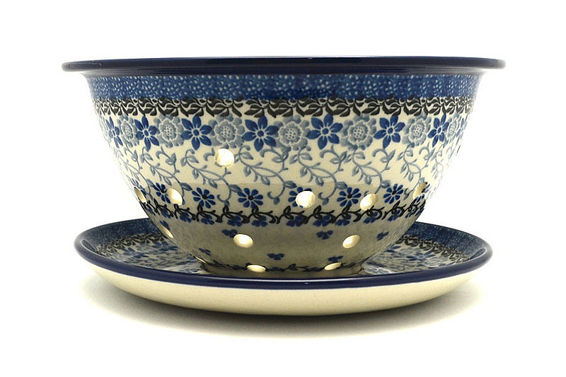 Polish Pottery Berry Bowl with Saucer - Silver Lace