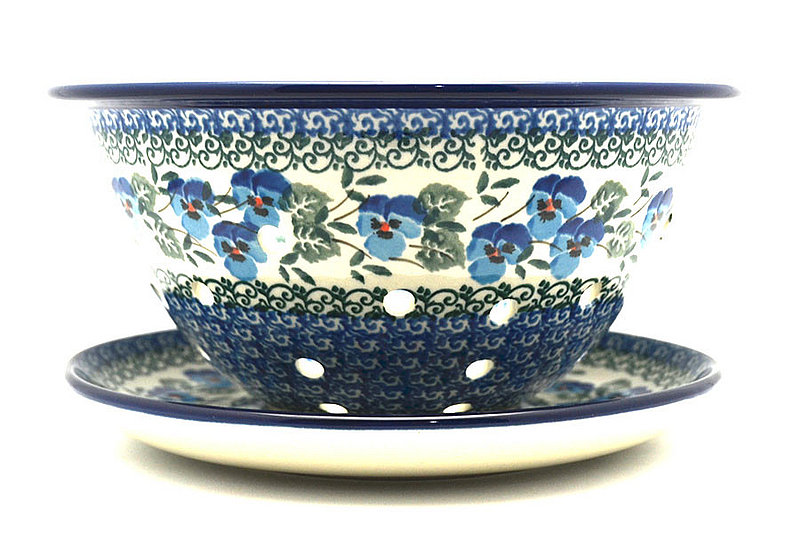Polish Pottery Berry Bowl with Saucer - Winter Viola