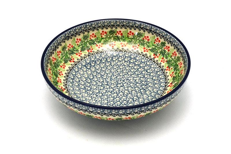 """Polish Pottery Bowl - Contemporary - Medium (9"""") - Holly Berry"""