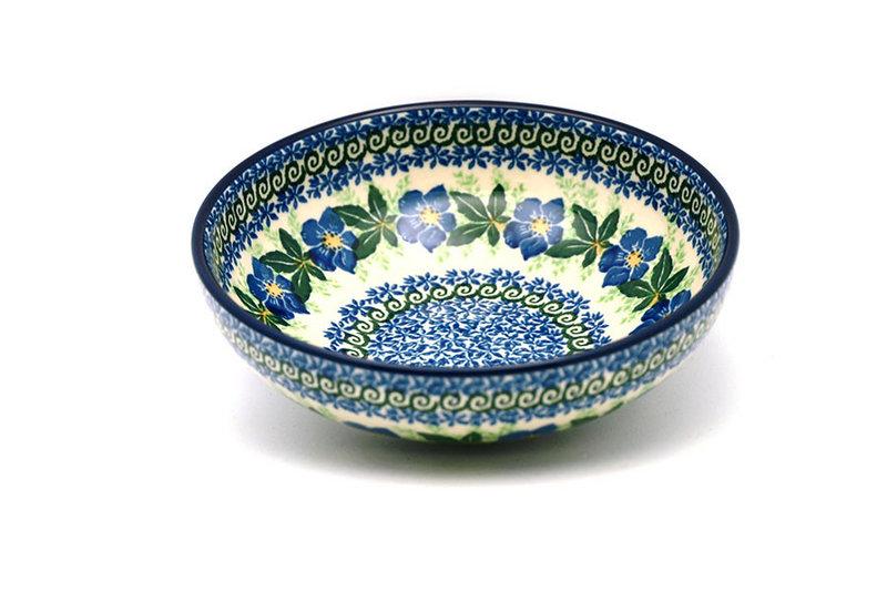 Ceramika Artystyczna Polish Pottery Bowl - Contemporary Salad - Blue Pansy B90-1552a (Ceramika Artystyczna)
