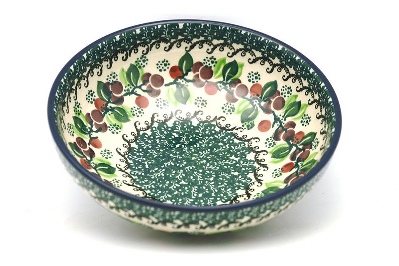 Ceramika Artystyczna Polish Pottery Bowl - Contemporary Salad - Burgundy Berry Green B90-1415a (Ceramika Artystyczna)