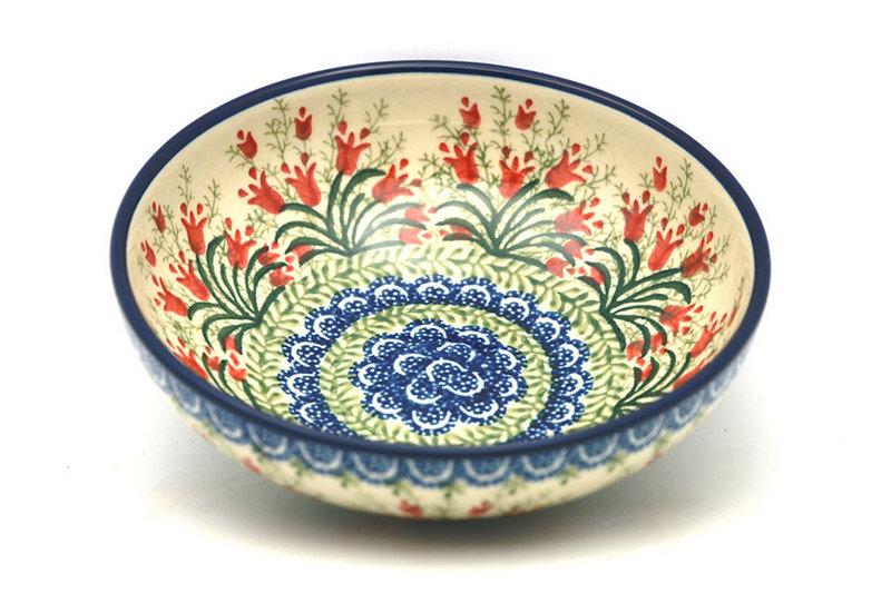 Ceramika Artystyczna Polish Pottery Bowl - Contemporary Salad - Crimson Bells B90-1437a (Ceramika Artystyczna)