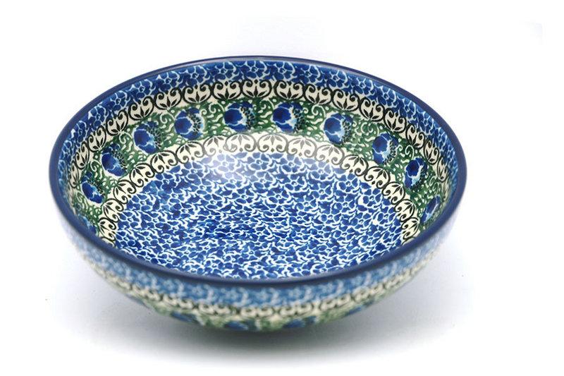 Ceramika Artystyczna Polish Pottery Bowl - Contemporary Salad - Peacock Feather B90-1513a (Ceramika Artystyczna)