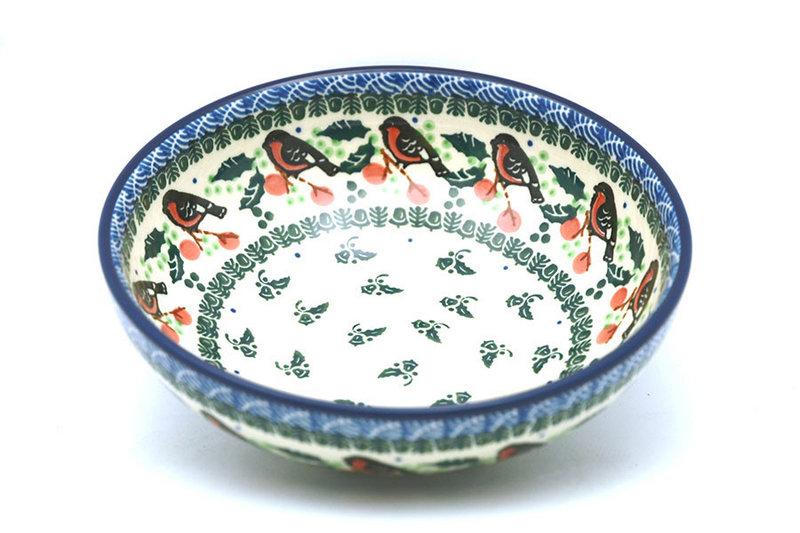 Ceramika Artystyczna Polish Pottery Bowl - Contemporary Salad - Red Robin B90-1257a (Ceramika Artystyczna)