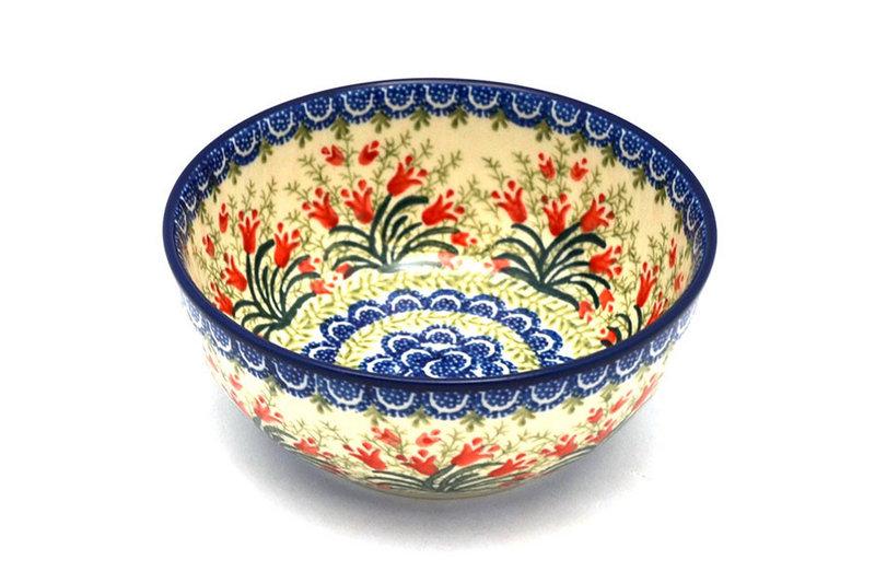 Ceramika Artystyczna Polish Pottery Bowl - Coupe Cereal - Crimson Bells C38-1437a (Ceramika Artystyczna)