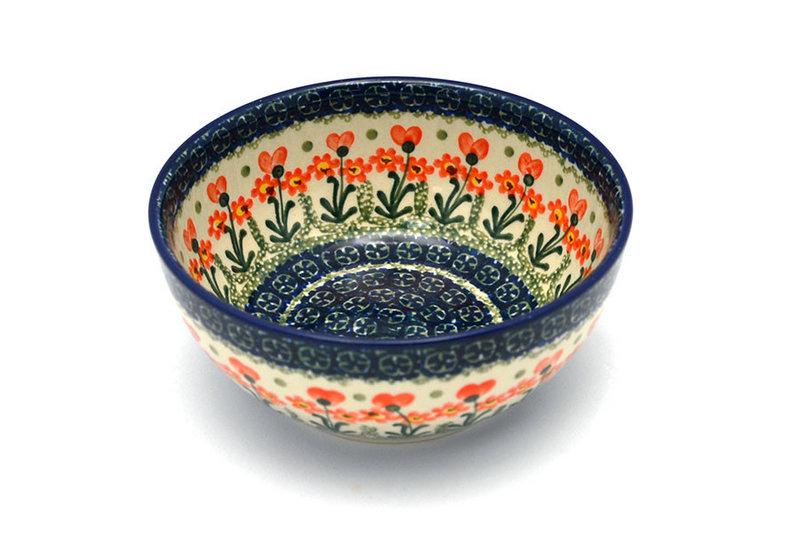 Ceramika Artystyczna Polish Pottery Bowl - Coupe Cereal - Peach Spring Daisy C38-560a (Ceramika Artystyczna)