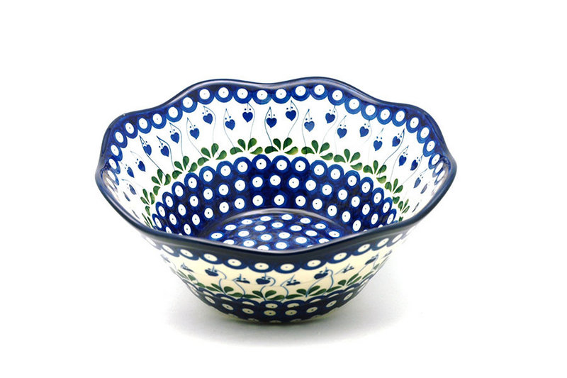 "Ceramika Artystyczna Polish Pottery Bowl - Curvy Edge - 10"" - Bleeding Heart 692-377o (Ceramika Artystyczna)"