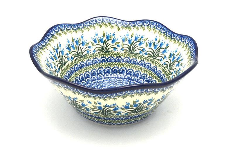 "Ceramika Artystyczna Polish Pottery Bowl - Curvy Edge - 10"" - Blue Bells 692-1432a (Ceramika Artystyczna)"