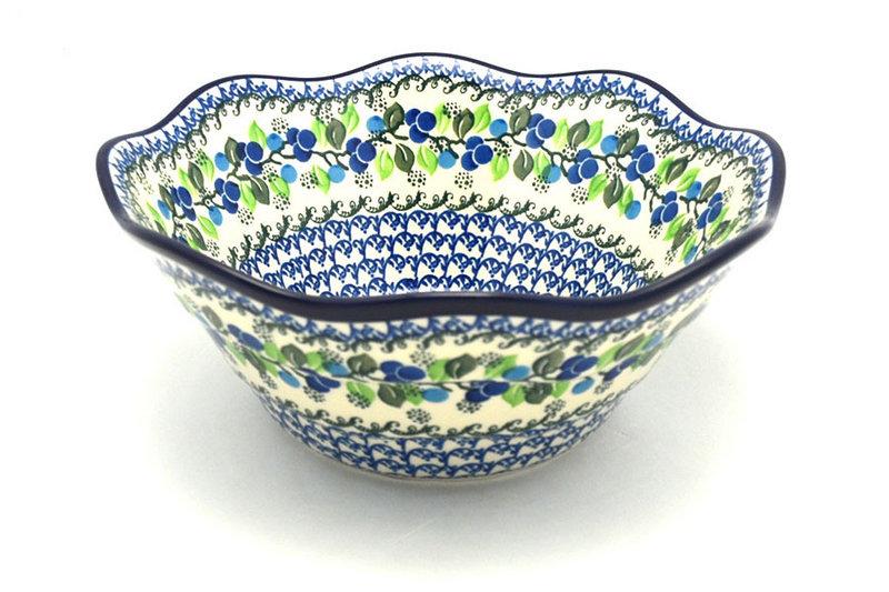 "Ceramika Artystyczna Polish Pottery Bowl - Curvy Edge - 10"" - Blue Berries 692-1416a (Ceramika Artystyczna)"