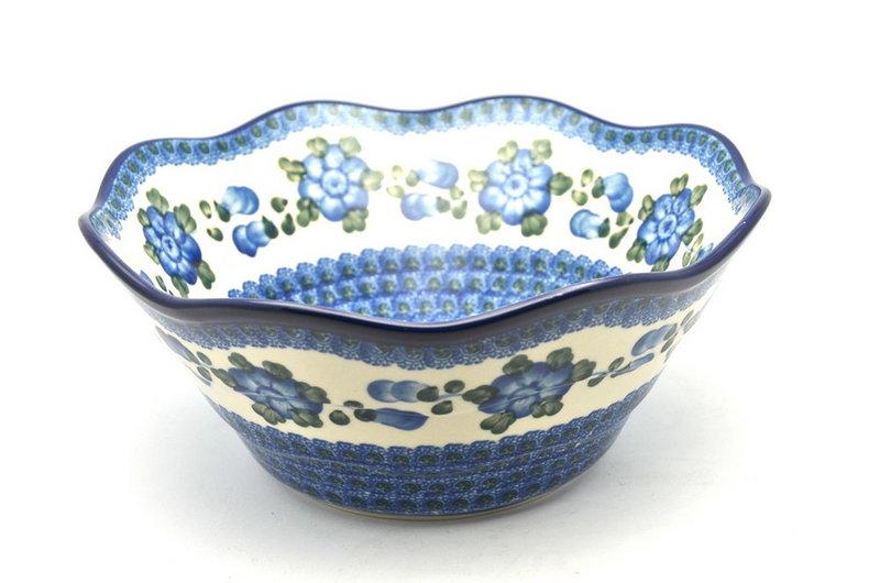 "Ceramika Artystyczna Polish Pottery Bowl - Curvy Edge - 10"" - Blue Poppy 692-163a (Ceramika Artystyczna)"