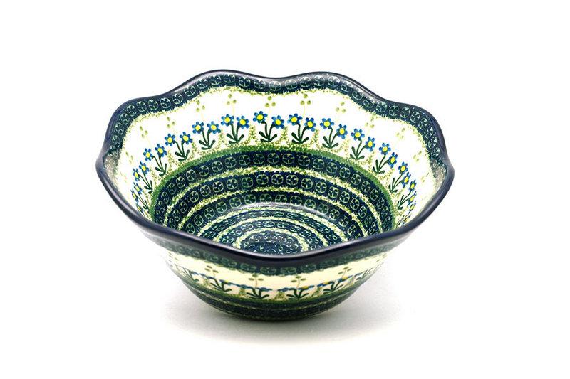 "Ceramika Artystyczna Polish Pottery Bowl - Curvy Edge - 10"" - Blue Spring Daisy 692-614a (Ceramika Artystyczna)"