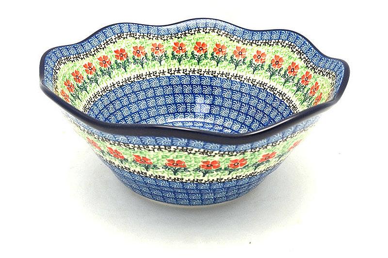 "Ceramika Artystyczna Polish Pottery Bowl - Curvy Edge - 10"" - Maraschino 692-1916a (Ceramika Artystyczna)"