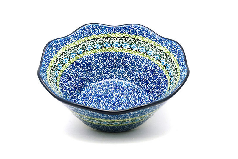 "Ceramika Artystyczna Polish Pottery Bowl - Curvy Edge - 10"" - Tranquility 692-1858a (Ceramika Artystyczna)"