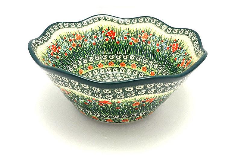 "Ceramika Artystyczna Polish Pottery Bowl - Curvy Edge - 10"" - Unikat Signature U4336 692-U4336 (Ceramika Artystyczna)"