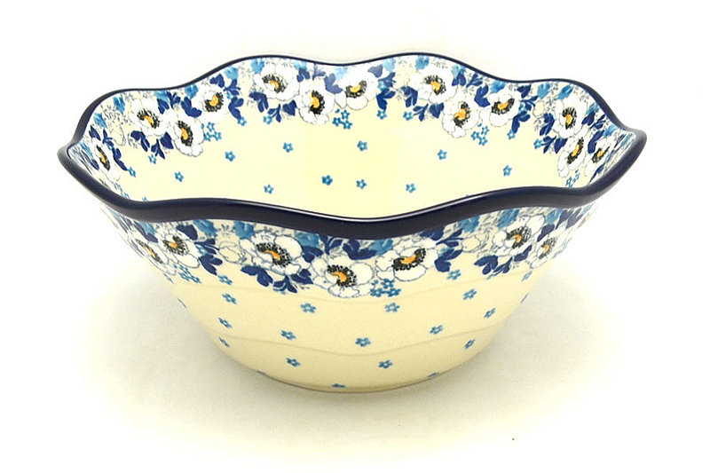 "Ceramika Artystyczna Polish Pottery Bowl - Curvy Edge - 10"" - White Poppy 692-2222a (Ceramika Artystyczna)"