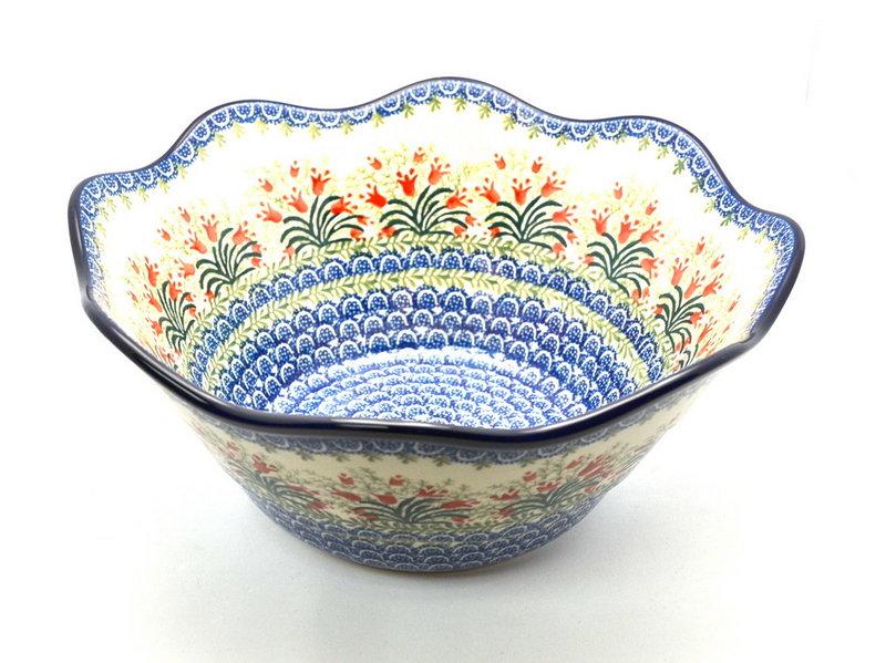 "Ceramika Artystyczna Polish Pottery Bowl - Curvy Edge - 12"" - Crimson Bells 693-1437a (Ceramika Artystyczna)"
