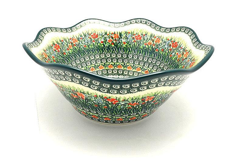 "Ceramika Artystyczna Polish Pottery Bowl - Curvy Edge - 12"" - Unikat Signature - U4336 693-U4336 (Ceramika Artystyczna)"