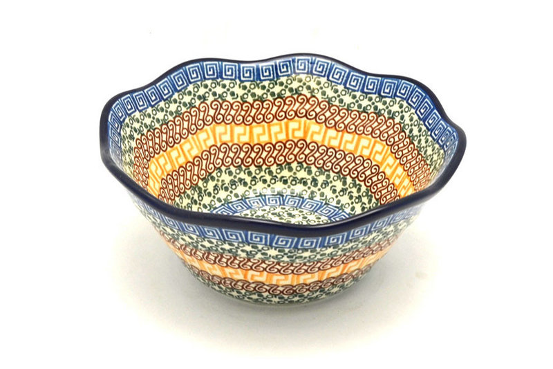 "Ceramika Artystyczna Polish Pottery Bowl - Curvy Edge - 8"" - Autumn 691-050a (Ceramika Artystyczna)"
