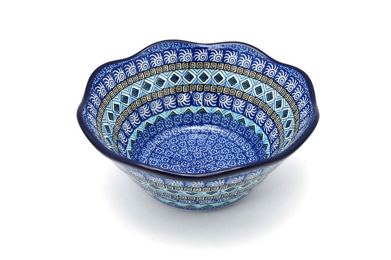 "Ceramika Artystyczna Polish Pottery Bowl - Curvy Edge - 8"" - Aztec Sky 691-1917a (Ceramika Artystyczna)"