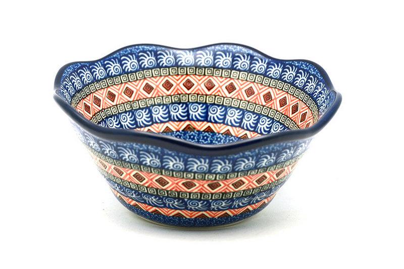 "Ceramika Artystyczna Polish Pottery Bowl - Curvy Edge - 8"" - Aztec Sun 691-1350a (Ceramika Artystyczna)"