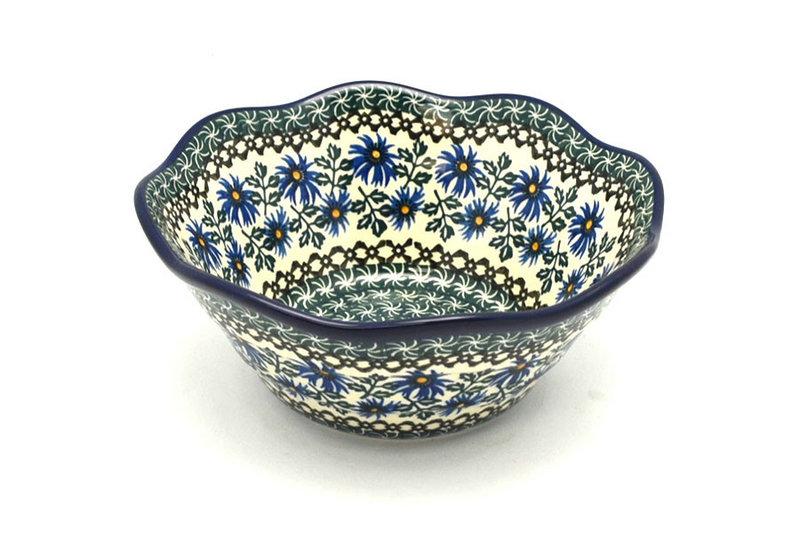 "Ceramika Artystyczna Polish Pottery Bowl - Curvy Edge - 8"" - Blue Chicory 691-976a (Ceramika Artystyczna)"