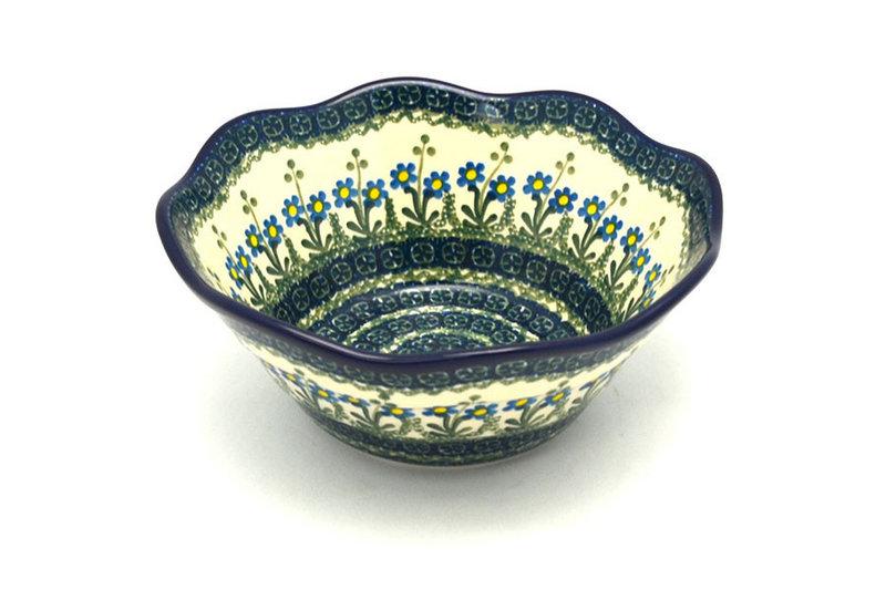 "Ceramika Artystyczna Polish Pottery Bowl - Curvy Edge - 8"" - Blue Spring Daisy 691-614a (Ceramika Artystyczna)"