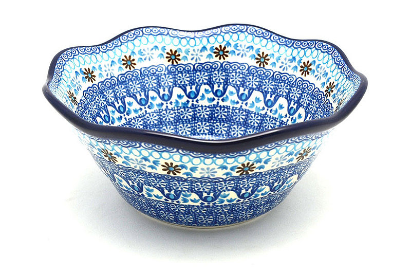 "Ceramika Artystyczna Polish Pottery Bowl - Curvy Edge - 8"" - Blue Yonder 691-2187a (Ceramika Artystyczna)"