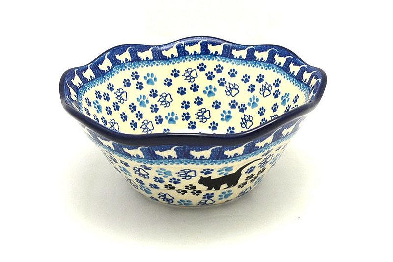 "Ceramika Artystyczna Polish Pottery Bowl - Curvy Edge - 8"" - Boo Boo Kitty 691-1771a (Ceramika Artystyczna)"
